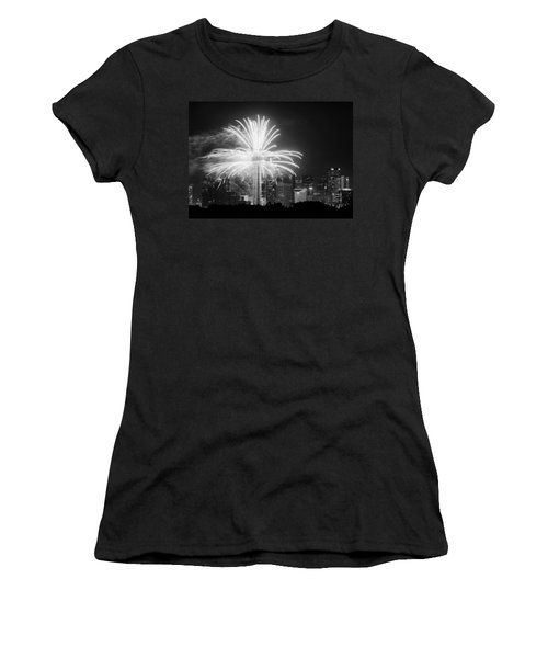 Dallas Reunion Tower Fireworks Bw 2014 Women's T-Shirt