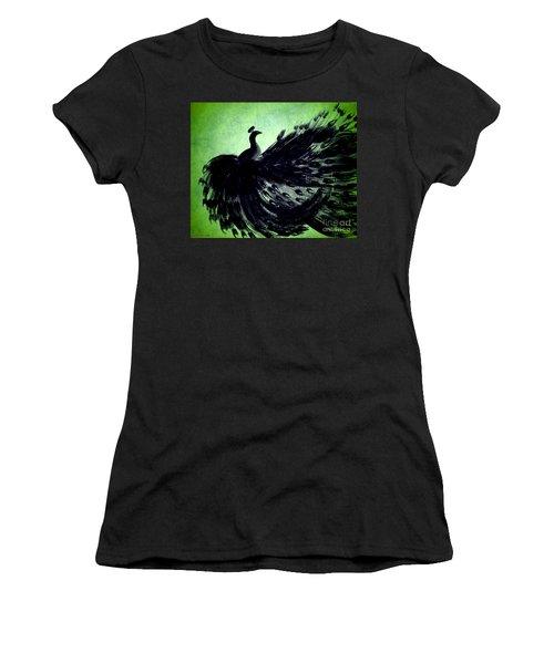 Women's T-Shirt (Junior Cut) featuring the digital art Dancing Peacock Green by Anita Lewis