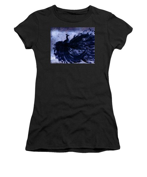 Dancing Peacock Navy Women's T-Shirt (Junior Cut) by Anita Lewis