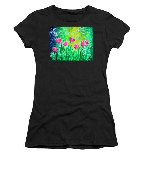 Dancing Tulips Women's T-Shirt (Athletic Fit)