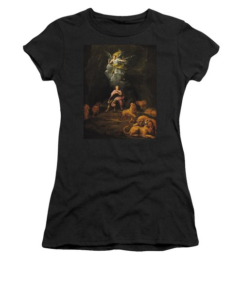 Daniel In The Den Of Lions Oil On Canvas Women's T-Shirt (Athletic Fit)