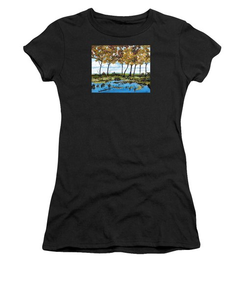 Dawn's Blue Waters Edge  Women's T-Shirt (Athletic Fit)