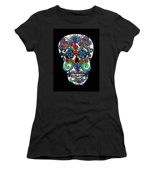 Day Of The Dead Skull Women's T-Shirt (Junior Cut) by Genevieve Esson