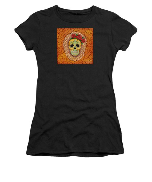 Day Of The Dead With Roses And Lace Women's T-Shirt (Junior Cut) by Joseph Sonday