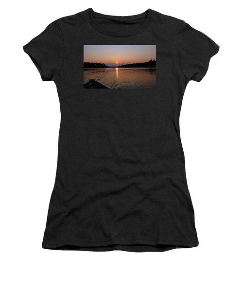 Sunset Fishing Women's T-Shirt (Junior Cut) by Debbie Oppermann