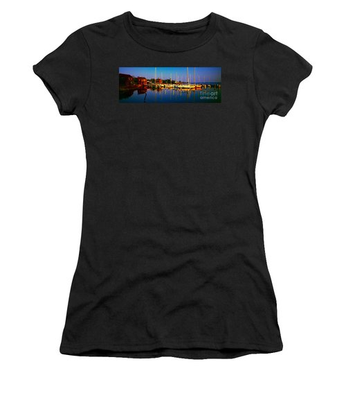 Daytona Beach Florida Inland Waterway Private Boat Yard With Bird   Women's T-Shirt (Athletic Fit)