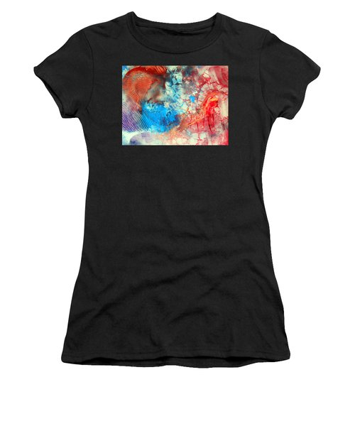 Decalcomaniac Colorfield Abstraction Without Number Women's T-Shirt