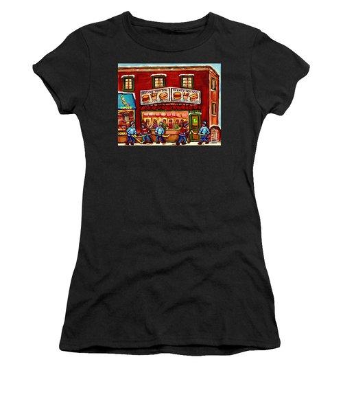Decarie Hot Dog Restaurant Cosmix Comic Store Montreal Paintings Hockey Art Winter Scenes C Spandau Women's T-Shirt (Athletic Fit)