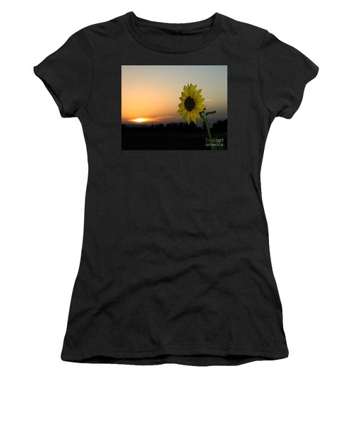 Women's T-Shirt featuring the photograph Sunflower And Sunset by Mae Wertz
