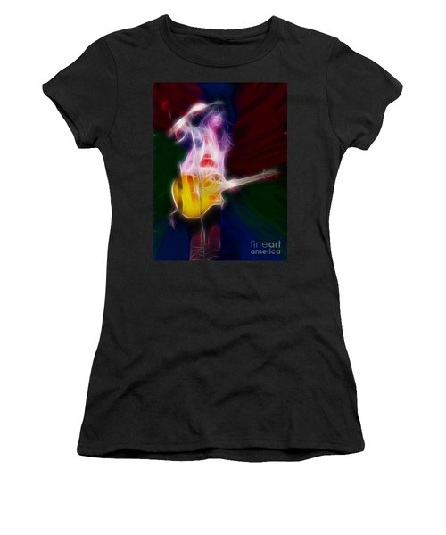 Deff Leppard-adrenalize-joe-gf25-fractal Women's T-Shirt (Junior Cut) by Gary Gingrich Galleries