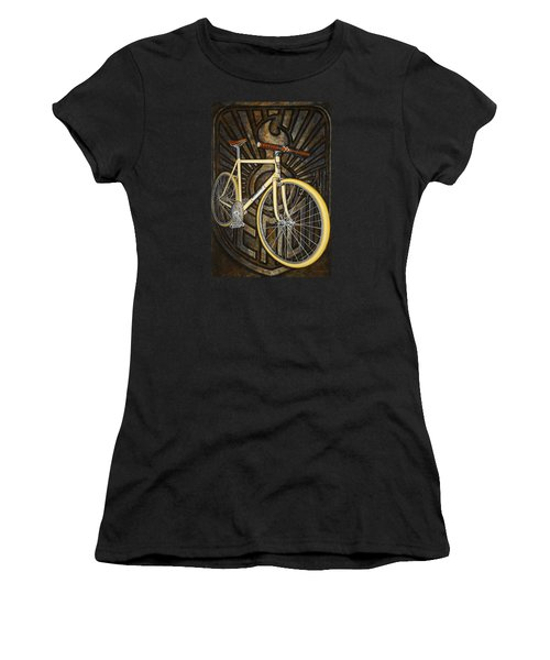 Women's T-Shirt (Junior Cut) featuring the painting Demon Path Racer Bicycle by Mark Howard Jones