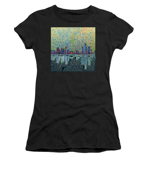 Detroit Skyline Abstract 3 Women's T-Shirt (Athletic Fit)
