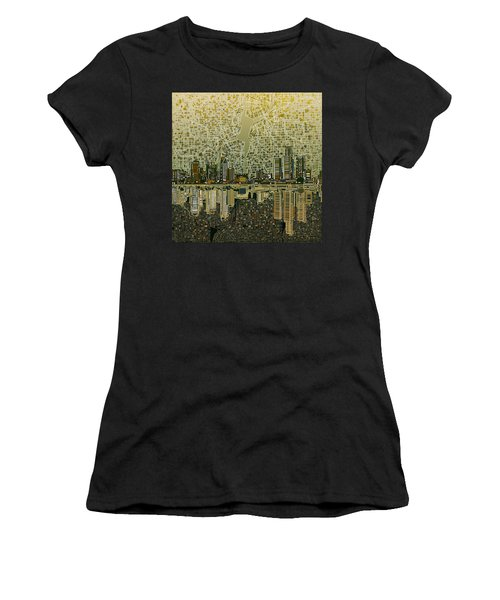 Detroit Skyline Abstract 4 Women's T-Shirt (Athletic Fit)