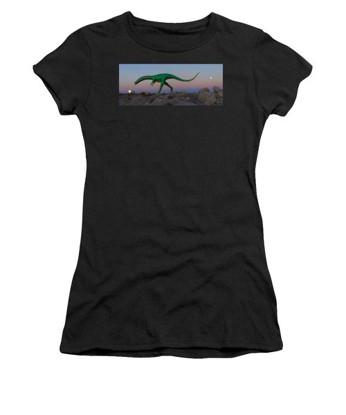 Dinosaur Loose On Route 66 2 Panoramic Women's T-Shirt