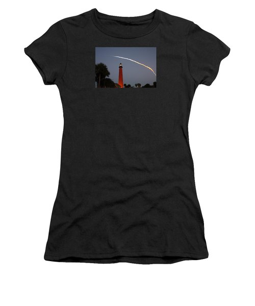 Discovery Booster Separation Over Ponce Inlet Lighthouse Women's T-Shirt