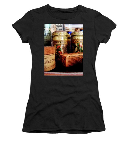 Women's T-Shirt (Junior Cut) featuring the photograph Doctor - Liver Pills In General Store by Susan Savad