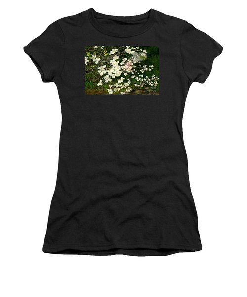 Women's T-Shirt (Junior Cut) featuring the painting Dogwoods Virginia by Melly Terpening