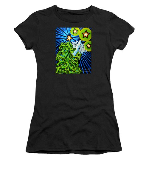 Dove And Christmas Tree Women's T-Shirt (Junior Cut) by Genevieve Esson