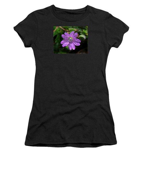 Women's T-Shirt (Junior Cut) featuring the photograph Wild Dovesfoot Cranesbill by William Tanneberger