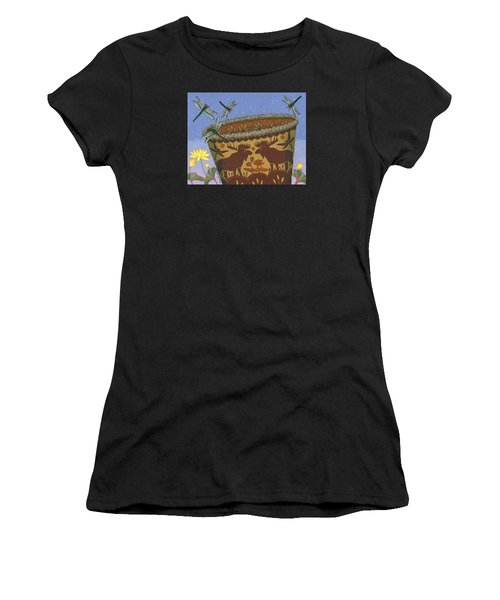 Women's T-Shirt (Athletic Fit) featuring the painting Dragonfly - Cohkanapises by Chholing Taha