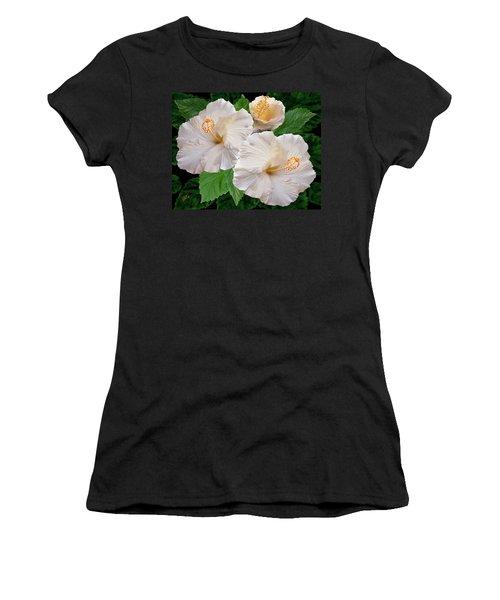 Dreamy Blooms - White Hibiscus Women's T-Shirt (Junior Cut) by Ben and Raisa Gertsberg
