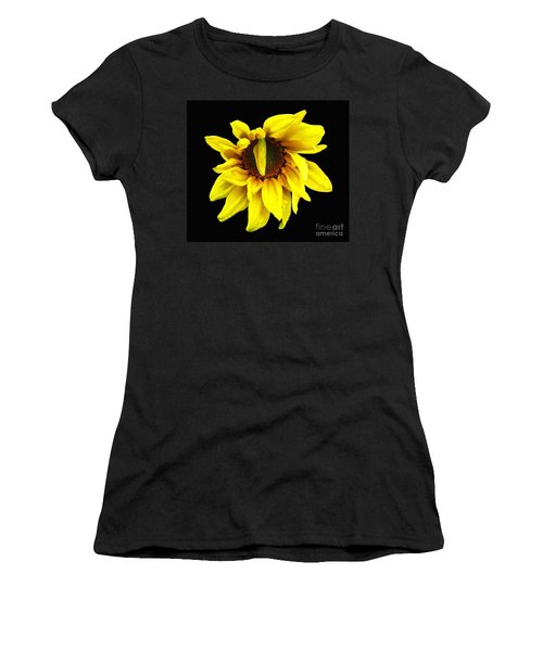 Women's T-Shirt (Junior Cut) featuring the photograph Droops Sunflower With Oil Painting Effect by Rose Santuci-Sofranko