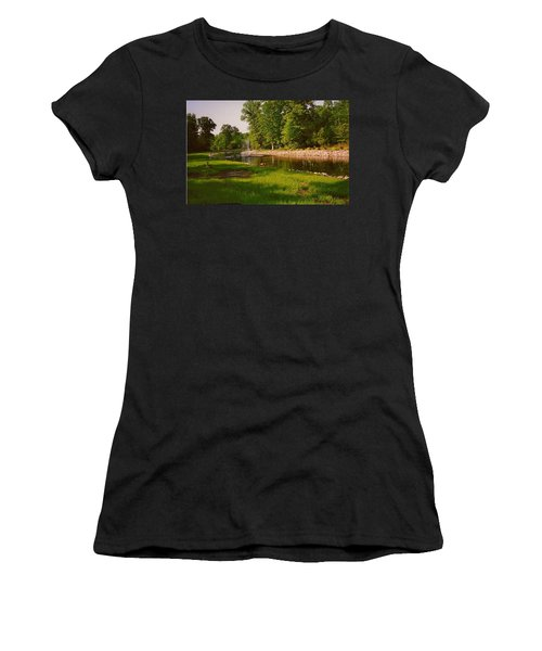 Duck Pond With Water Fountain Women's T-Shirt (Junior Cut) by Amazing Photographs AKA Christian Wilson