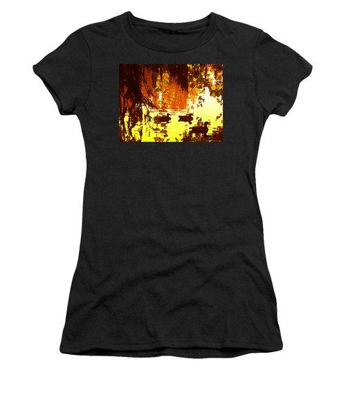 Ducks On Red Lake Women's T-Shirt