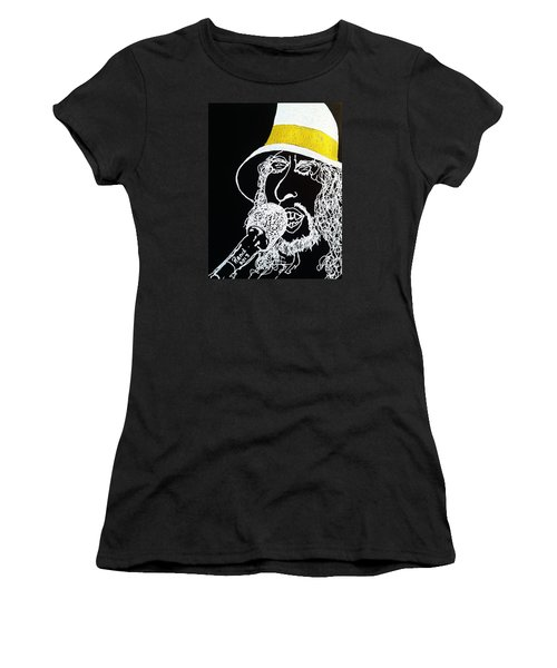 Women's T-Shirt (Junior Cut) featuring the drawing Dylan In Concert by Rand Swift