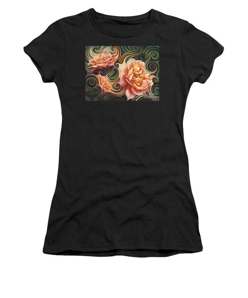 Dynamic Floral V  Roses Women's T-Shirt