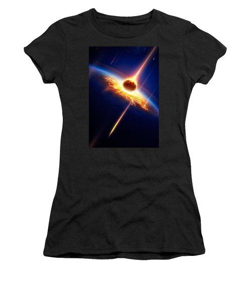 Earth In A  Meteor Shower Women's T-Shirt