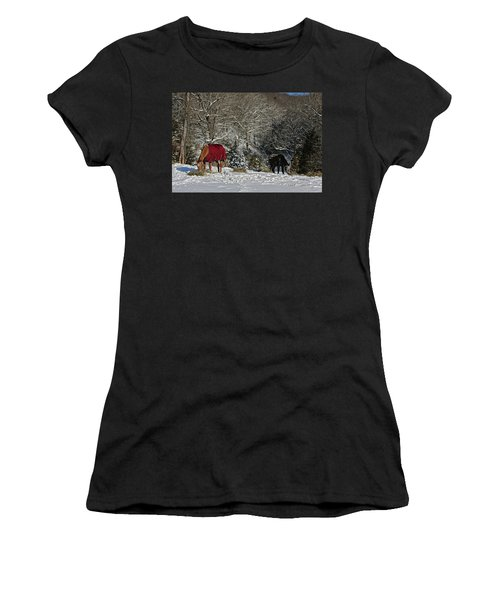 Women's T-Shirt (Junior Cut) featuring the photograph Eating Hay In The Snow by Denise Romano