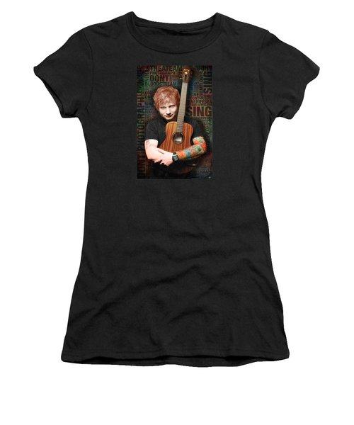 Ed Sheeran And Song Titles Women's T-Shirt (Junior Cut) by Tony Rubino