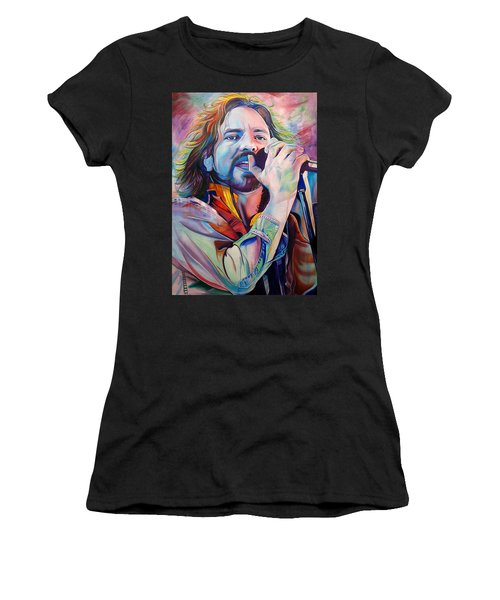 Eddie Vedder In Pink And Blue Women's T-Shirt (Athletic Fit)