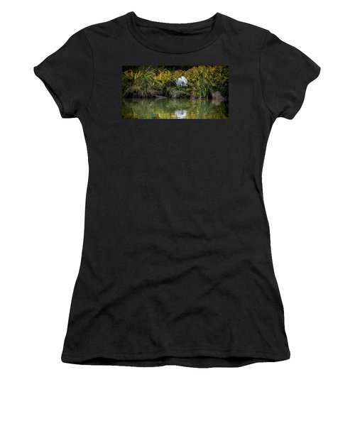 Women's T-Shirt (Junior Cut) featuring the photograph Egret At The Lake by Chris Lord