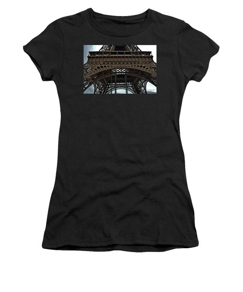 Women's T-Shirt (Junior Cut) featuring the photograph Eiffel Tower - The Forgotten Names by Allen Sheffield