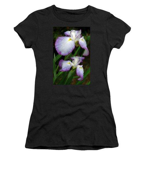 Women's T-Shirt (Junior Cut) featuring the photograph Elegant Purple Iris by Marie Hicks