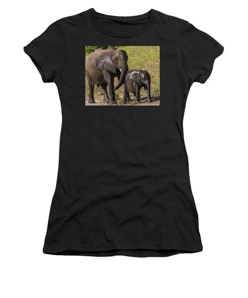 Elephant Mom And Baby Women's T-Shirt (Athletic Fit)