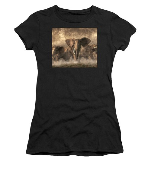 Elephant Stampede Women's T-Shirt (Athletic Fit)