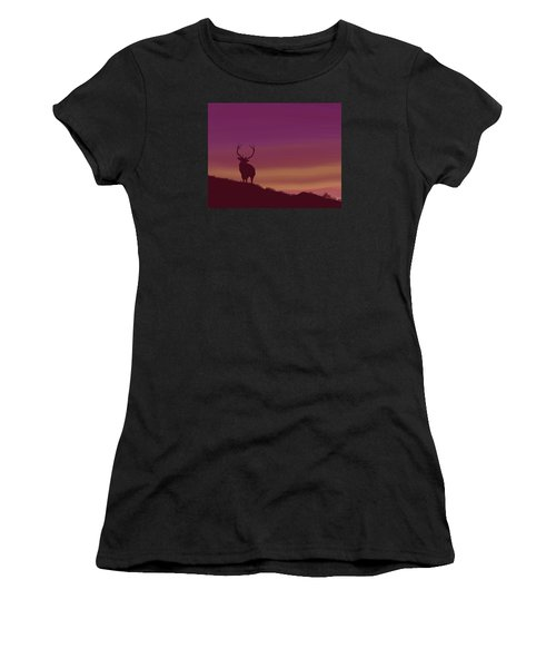 Elk At Dusk Women's T-Shirt (Athletic Fit)
