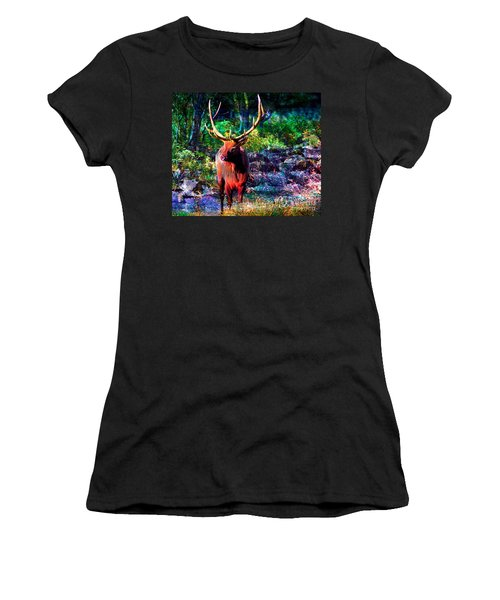 Elk In The Wilderness Women's T-Shirt (Athletic Fit)