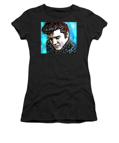 Elvis Presley Never Left The Building Alcohol Inks Women's T-Shirt (Athletic Fit)