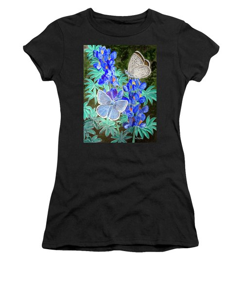 Endangered Mission Blue Butterfly Women's T-Shirt (Junior Cut) by Mike Robles
