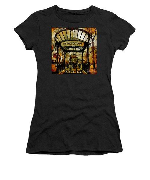 Entrance To The Paris Metro Women's T-Shirt (Athletic Fit)
