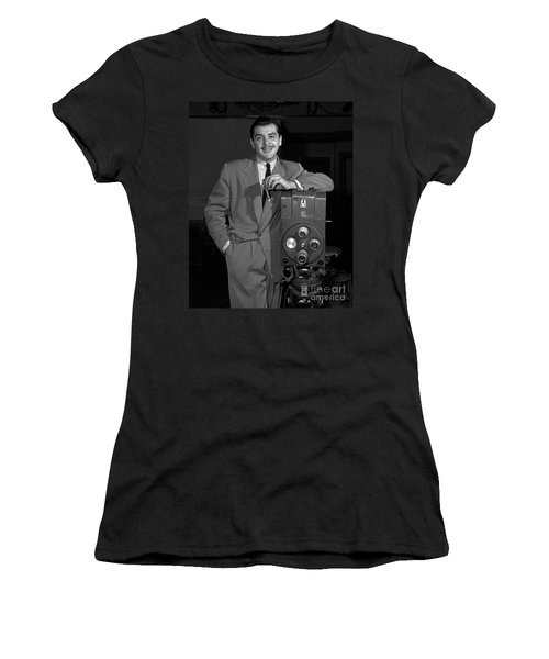 Women's T-Shirt (Junior Cut) featuring the photograph Ernie Kovacs 1957 by Martin Konopacki Restoration