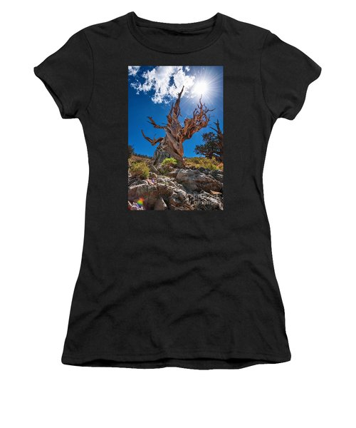 Eternity - Dramatic View Of The Ancient Bristlecone Pine Tree With Sun Burst. Women's T-Shirt
