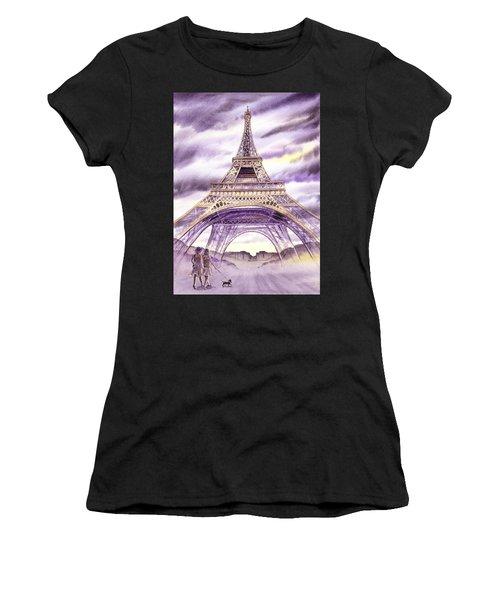 Evening In Paris A Walk To The Eiffel Tower Women's T-Shirt