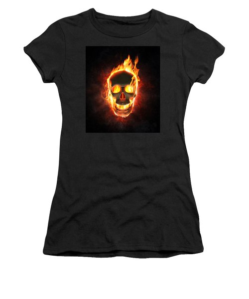 Evil Skull In Flames And Smoke Women's T-Shirt (Athletic Fit)