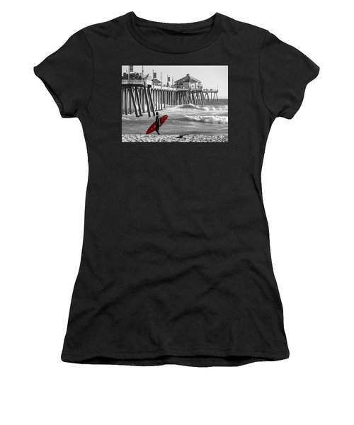 Existential Surfing At Huntington Beach Selective Color Women's T-Shirt