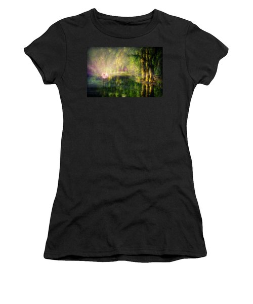 Fairy In Pink Bubble In Serenity Forest Women's T-Shirt (Junior Cut) by Lilia D